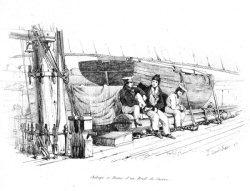 Chaloup et Drome d'un Brick de Guerre [Rowing Boat with booms and spars of a War Brig]